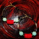 HANDMADE TRIBAL HOOPS GOLD, BLK, TURQUISE & RED