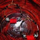 HANDMADE TRIBAL HOOPS GOLD, BLK, GREY & RED