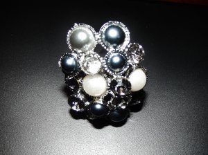 Blue & White pearl and clear & blue crystals cluster ring