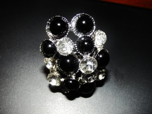 black pearl and clear crystal cluster ring