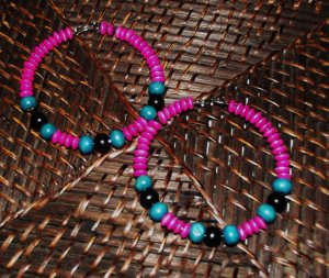 Pink, teal & black wooden hoops