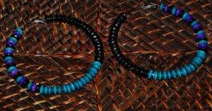 purple teal & black wooden hoops