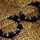 Purple, teal & black wooden hoops