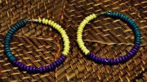 Purple, teal & yellow wooden hoops