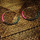 black, teal,pink & gold  hoops