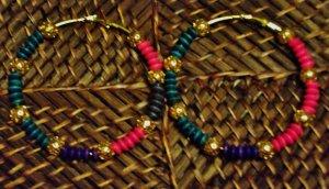 purpl, teal,pink & gold  hoops