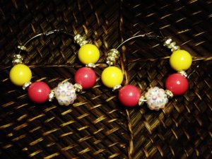 Pink, white & yellow hoops w/crystal spacers