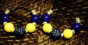 blue & yellow hoops w/crystal spacers