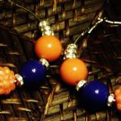 cobolt blue & orange hoops w/crystal spacers