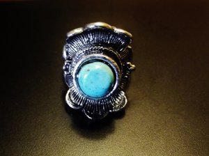TURQUISE & SILVER RING W/ADJUSTABLE BAND