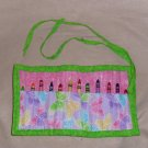 Hand Crafted Butterfly Crayon Holder Roll Up with Green Tie