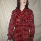 Molly Long Sleeve Ruffled Blouse Plaid  Red M L 6000