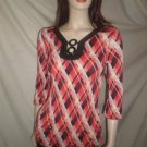 "ESSENTIAL BY MILANO3/4""  Woven Plaid  Blouse Red Black S"