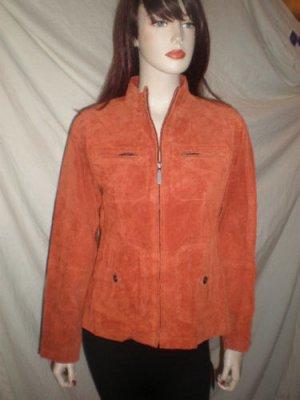 RUFF HEWN Womens Leather (SUEDE) Jacket Rusty Rust Orange Red M