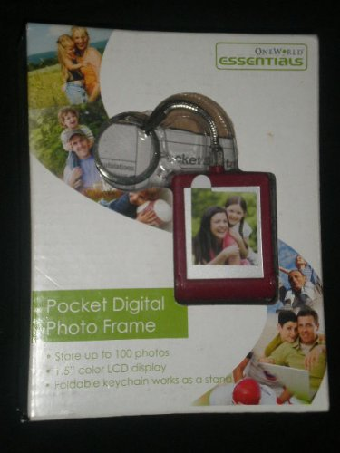 One World Essentials Digital Photo Frame KeyChain BURGUNDY