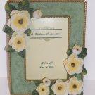 "RICHESCO Vintage 3-1/2"" x 5"" White Flowers Picture Frame Seafoam Green PF154"
