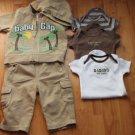 BABY PLAYWEAR PANTS/ONSIES/HOODIE SET 3-6-12 m
