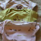 """BABY SET OF THREE BODYSUITS  """"selery green jungle"""" BY CARTERS 3 MOS"""