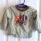 T-SHIRT BABY LONG SLEEVES GREEN BROWN STRIPES SZ 18 m By CARTERS