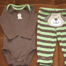 BROWN GREEN BABY DOGGY SET 6M