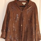 NICE MODERN BROWN LUREX WOMEN'S BLOUSE WITH LINING BY COLDWATER CREEK SZ XL(18)