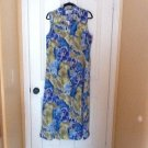 NEW BLUE GREEN SLEEVELESS WITH THE COLAR SUMMER DRESS SZ14