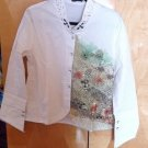 NEW WHITE BLOUSE WITH GREEN LACE AND STONES SZ XL