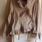 WOMAN NEW CHAMPAGNE STRETCH LONG SLEEVES WITH RUFFLES TOP BY ADRIANNA PAPELL
