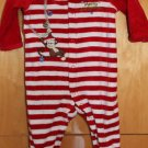 BABY WHITE/RED STRIPES CHRISTMAS BODYSUIT 6M BY LITTLE ME