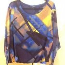 ALFANI WOMEN TOP/BLOUSE STRETCH  WITH LONG SHEER SLEEVES SZ 1X