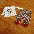 Crazy 8 Holiday Pajamas Stoipy Pants White Bulldog T-Shirt Sz 6-12M