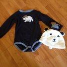 Gymboree Dark Blue Bear Onsie Hat Set Sz 18-24 Months