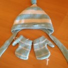 Baby Hat White Blue Stripes With Mittens One Size