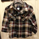 Carter's Boys Brown Black Beige  Red Plaid Warm Shirt Sz 2T