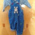Pumpkin Reversible Patch Blue Velour Jumpsuit Striped Onsie Sz 3-6M