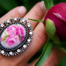 Elegant Pink Peony Flower Cocktail Ring Size 5