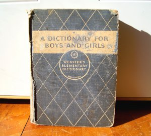 A Webster's Elementary Dictionary for Boys and Girls Children Vintage Book 1935