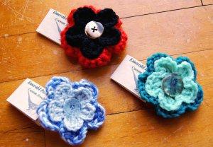 Handmade Crocheted Flower Petal Pin Brooch Hair Clip Accessory