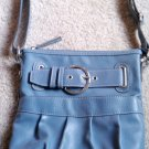 Light Peacock Feather Blue Medium Shoulder Bag Purse w/ Zipper