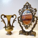 Italian Brass Vase and Mirror Vintage Set