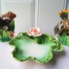 Enesco Rose Green Candy Dish & Pair of Ucagco Robins Birds Vintage Porcelain Set