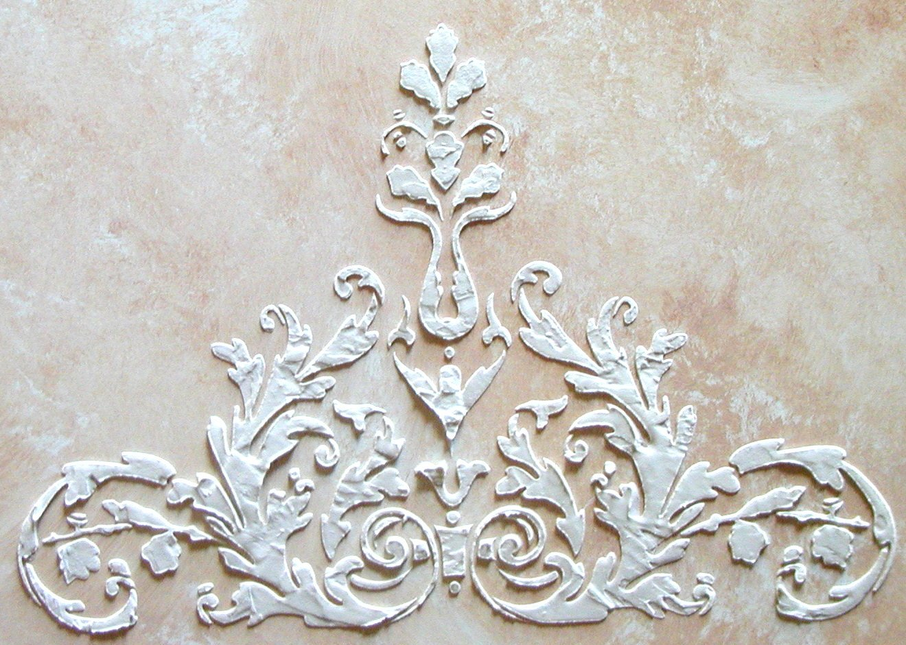 Raised Plaster Laureli Wall Stencil Painting Stencil