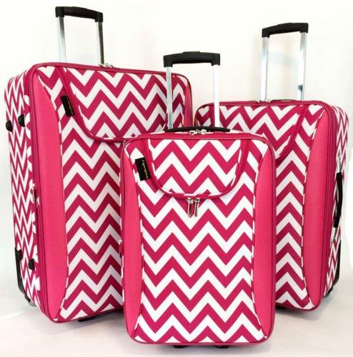 3Pc Luggage Set Travel Bag Rolling Wheel CarryOn Expandable Upright Chevron Pink