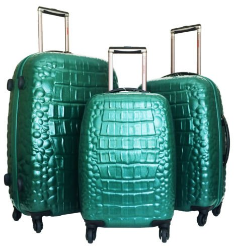 3 Pc Luggage Set Hardside Rolling 4Wheel Spinner Polycarb Case Travel Croc Green