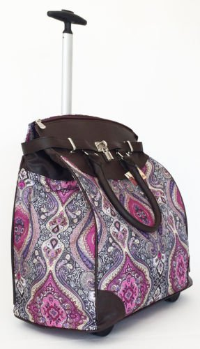 "19"" Computer/Laptop Bag Tote Duffel Rolling Wheel Case Purse Tablet Taj Pink"