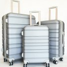 3Pc Luggage Set Hardside Rolling 4 Wheel Spinner Upright CarryOn Travel Silver