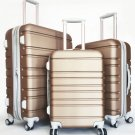 3Pc Luggage Set Hard Rolling 4 Wheels Spinner Upright CarryOn ABS Travel Gold