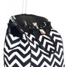"19"" Computer/Laptop Bag Tote Duffel Rolling Wheel Case Purse Tablet Chevron Blk"