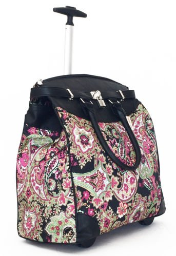 """19""""Computer/Laptop Bag Tote Duffel Rolling Wheel Case Purse Tablet Paisley Green"""