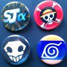 Shonen Jump α 4 Button set (Naruto, Bleach, One Piece)